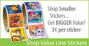 Budget Friendly stickers are value priced and a fun size for young patients