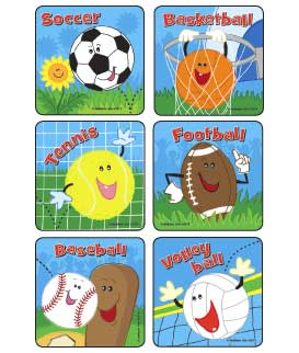 Sport Ball Action Asst. Stickers