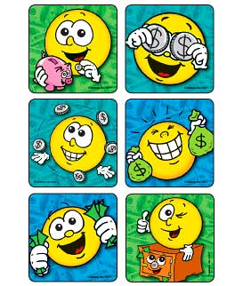 Money Fun Smiles Asst. Banking Stickers
