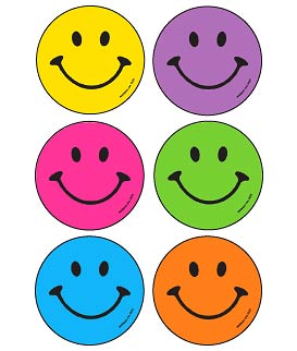 Neon Smile Faces Asst. Stickers