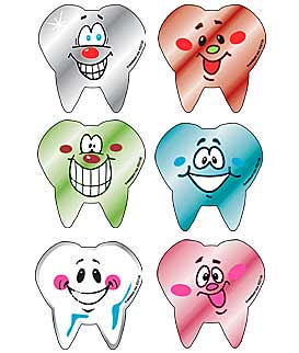 Foil Tooth Shape Smile Asst. Dental Stickers