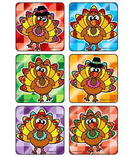 Foil Turkey Characters Asst. Stickers
