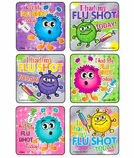 I Had My Flu Shot! - Foil Asst. Medical Stickers