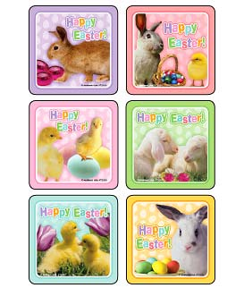 Happy Easter Animal Photos Asst. Stickers