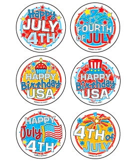 Happy July 4th Asst. Stickers