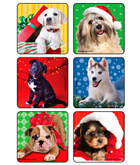 Christmas Puppies.Christmas Puppies Asst Stickers